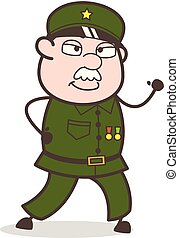 intelligent, pose, illustration, courant, vecteur, sergent, dessin animé