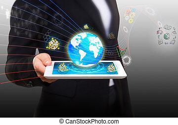 intelligent, ruisseler, tablette, données, moderne, pc, couler