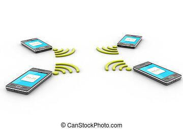 intelligent, téléphone sans fil, technologie