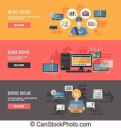interactif, bannières horizontales, informatique, plat, réparation