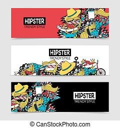 interactif, horizontal, hipster, 3, bannières, ensemble