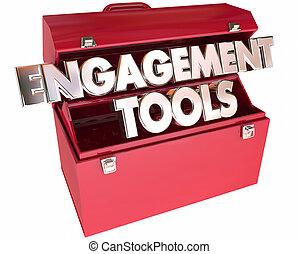interaction, communication, engagement, mots, boîte outils, outils, participation, 3d