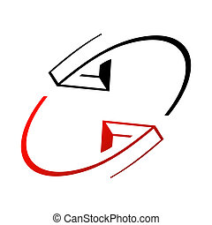 interaction, flèches, signe