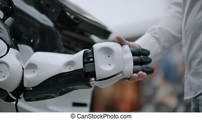 interaction, intelligence, main artificielle, robot., concept, mains humaines, homme affaires, androïde, secousse