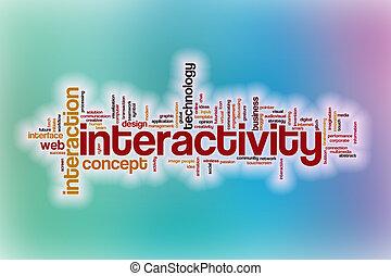 interactivité, résumé, mot, nuage, fond