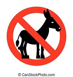 interdiction, fool., silhouette, crossed-out, donkey., emblème, prohibition, signe, interdit, rouges, gens., contre, stupide, arrêt, stupidity.