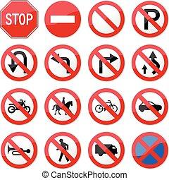 interdit, arrêtez panneau signalisation