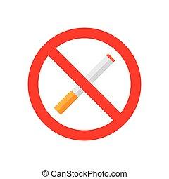 interdit, icône, isolé, aucun signe tabagisme, signe.