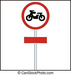 interdit, signe, trafic, motocyclette, entrée
