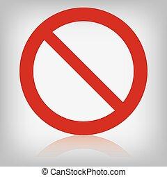interdit, vecteur, isolé, signe