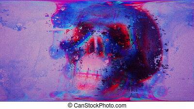interférence, vidéo, crâne, 80, art, vieux, glitch, 90, multi-coloré, retro, pixel, signal, abîmer, résumé, vagues, écran, cassé, effect., dynamique, futurisme, bruit, tv., effets, numérique, style., lumière