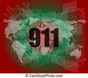 interface, 911, toucher, mots, écran, numérique