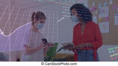 interface, animation, statistiques, face masque, projection, collègues, bureau, numérique, porter
