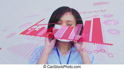 interface, animation, statistiques, face masque, projection, numérique, porter, femme