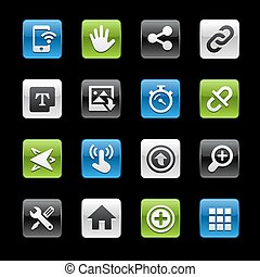 interface, boutons, système, lustré