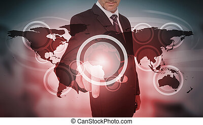 interface, cercle, futuriste, choix, homme affaires