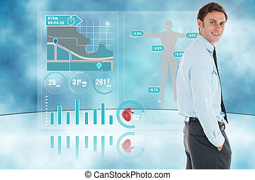 interface, debout, main, heureux, poche, homme affaires, contre, monde médical