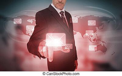 interface, email, futuriste, choix, homme affaires