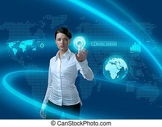 interface, femme affaires, avenir, solutions, business