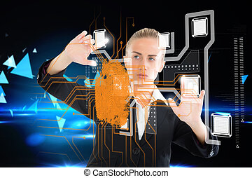 interface, femme affaires, empreinte doigt, blond, toucher