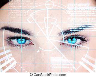interface, femme, observé, bleu
