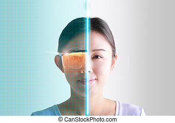 interface., femme, sécurité, yeux, accesses, contrôle, futuriste