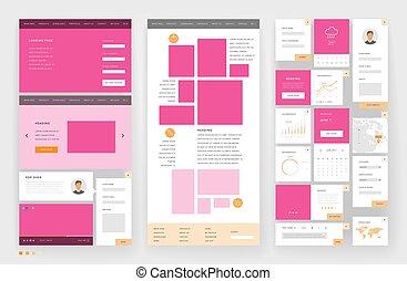interface, gabarit, site web, éléments conception