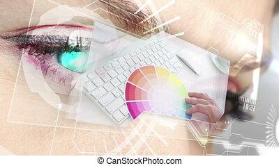 interface, graphique, projection, futuriste, conception