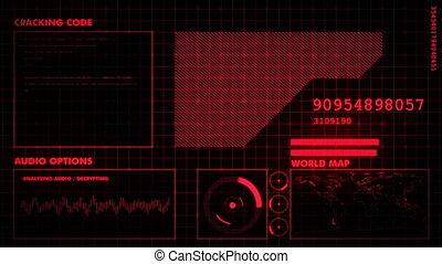 interface, graphique, rouges, futuriste