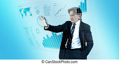 interface, homme affaires, avenir, naviguer