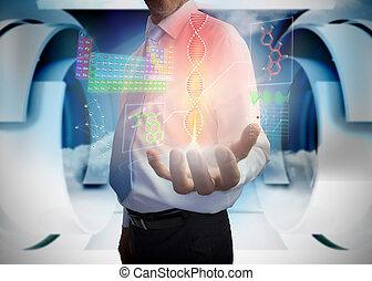 interface, homme affaires, présentation, monde médical