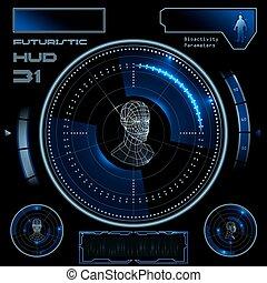 interface, hud, utilisateur, futuriste