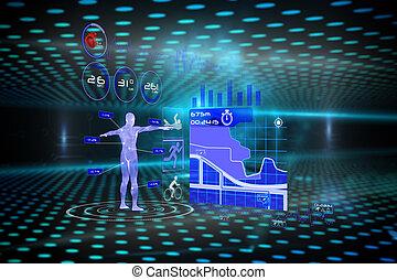 interface, image composée, monde médical