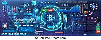 interface., infographic, ui, hud, ux, futuriste, kit
