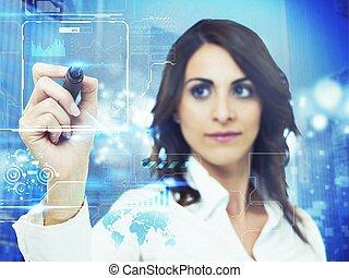 interface, informatique, futuriste
