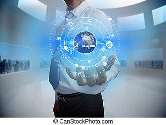 interface, la terre, présentation, graphique, homme affaires