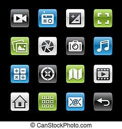 interface, média, lustré, boutons