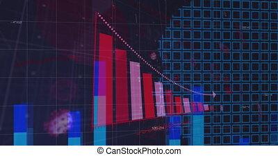 interface, mondiale, statistiques, carte, projection, animation numérique