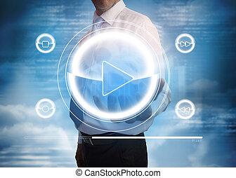 interface, musique, présentation, joueur, homme affaires
