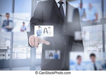 interface, numérique, présentation, homme affaires, bureau, clair