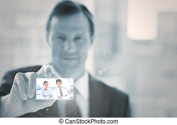 interface, numérique, présentation, homme affaires