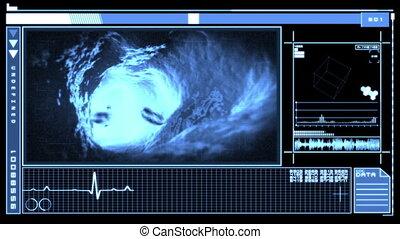 interface, numérique, projection, veine bleue