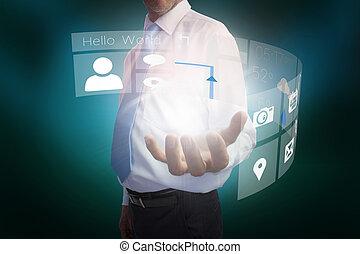 interface, présentation, homme affaires