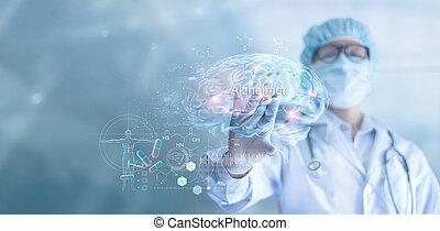 interface, résumé, docteur, vérification, science, essai, maladie, analyse, alzheimer, concept, résultat, cerveau, innovateur, médecine, démence, technologie, virtuel