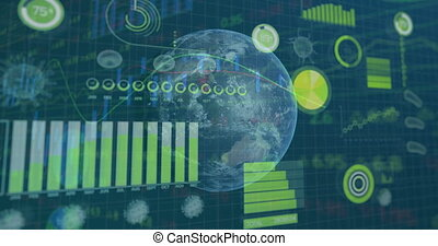 interface, statistiques, projection, globe, numérique, rotation, animation