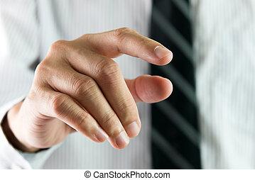 interface, toucher, doigt, virtuel