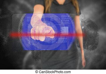interface, touchscreen, femme affaires, empreinte doigt, toucher