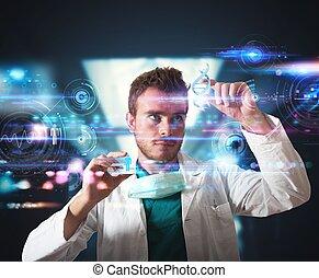 interface, touchscreen, futuriste, docteur