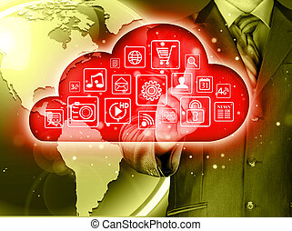 interface, touchscreen, nuage, calculer