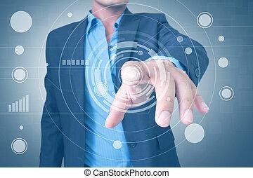interface, utilisation, touchscreen, homme